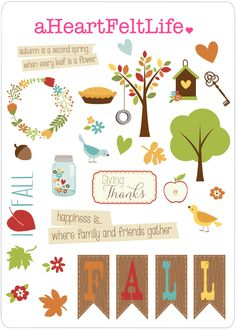 Fall Stickers for your Planner, scrapbook, calendar, etc. by aHeartFeltLife on…