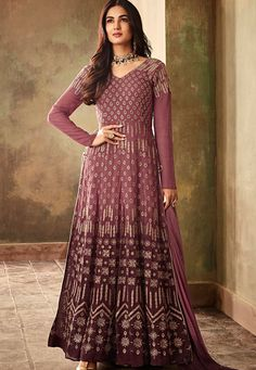 3e07565c2b Sonal chauhan mauve georgette embroidered designer anarkali suit 6706