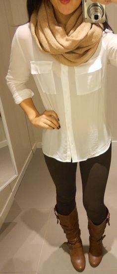 white chiffon button up shirt, brown leggings, brown boots, beige infinity scarf. by ruzinscloset.com