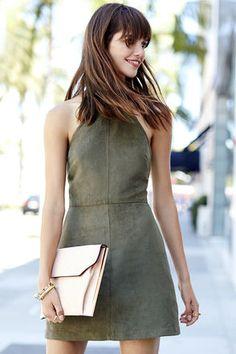 Saloon Swoon Olive Green Halter Dress