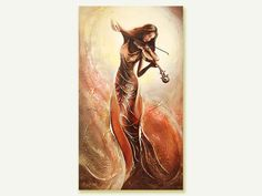 Gold Painting Musician Oil painting on canvas by OilPaintingsRaen