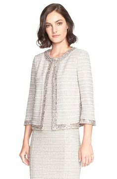 Free shipping and returns on St. John Collection Embellished Textured Tweed Knit Jacket at Nordstrom.com. Pearly beads with light-catching silvery accents border the boxy collarless cut of a sophisticated jacket knit in a shimmering tactile tweed.