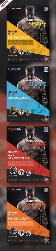 Download Health and Fitness Flyer Bundle Free PSD. This is a great opportunity to promote your Fitness and Gym, beauty center or sport clubs with this high-quality flyer template. This Gym Fitness Flyer template download contains 4 PSD templates with different color variations, which is 300 dpi, CMYK files. All main elements are easily editable and customizable.
