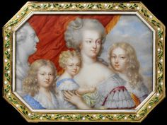 Marie Antoinette with Louis-Charles (future Louis XVII), Marie-Therese Madame Royale (inexplicably smaller than her younger brothers), and Dauphin Louis-Joseph, with a bust of Louis XVI on the left.  18th C snuff box, ca. 1814 portrait created after the Restoration of the French monarchy. (V&A Museum)