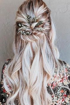 Boho Hairstyles Summer wedding hairstyles stretched halfway down over long blonde hair with . Hairstyles Summer wedding hairstyles stretched halfway down over long blonde hair with . Wedding Hair Flowers, Wedding Hair And Makeup, Wedding Beauty, Wedding Hair Accessories, Flowers In Hair, Hair Wedding, Wedding Dresses, Summer Wedding Makeup, Bohemian Wedding Hair