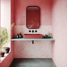 lan turquoise, vasque framboise, robinets noirs #perfectplaces #mygoodmoods #rg @elledecoration_n