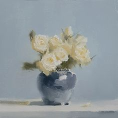 Roses in Blue by Neil Carroll Oil ~ 6 x 6