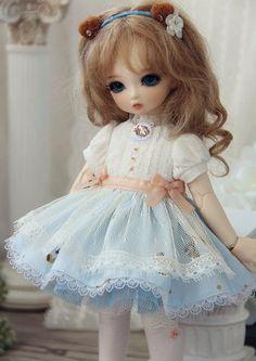 1/6BJD, 1/6YOSD Summer Bear Blue Dress | Doll Accessories | BJD Dress, YOSD Dress