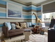 love the horizontal stripes of this playroom