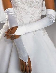 ZY/ Al gomito Senza dita Guanti Raso Guanti da sposa / Da sera/eleganti Primavera / Estate / Autunno / Inverno , white
