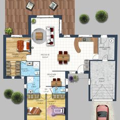 Maison plain-pied bicolore Bouguenais With its 118 m² of living space including 20 m² of annexed area, this bicolor one-storey … Home Organisation, Architect House, New House Plans, 20 M2, Sweet Home, New Homes, Floor Plans, Real Estate, Cottage