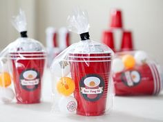 """Bachelor and Bachelorette Party Ideas // """"Beer Pong Kit"""" - every guy would love this awesome favor - FREE label download! #DIYNetwork #SomethingTurquoise"""