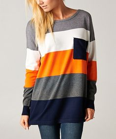 This 42POPS Midnight Blue & Charcoal Color Block Stripe Long-Sleeve Top by 42POPS is perfect! #zulilyfinds