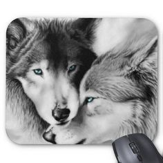 Sold! Wolves in Love Mousepad - Many thanks to my customer in Oak Grove, MN! Beautiful choice! #mousepads #custommousepads #wolves #office #computer #accessories