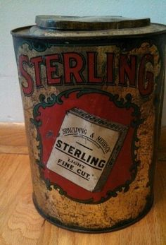 Large STERLING Light tobacco tin