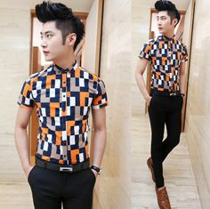2014 Season New Mens Fashion Casual Shirts Contrast Color Slim Fit Fancy Event Summer Shirts Wholesale $24.88