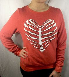 Wildfox Skeleton Heart Baggy Beach Jumper Size Small New Sweatshirt India Red  | eBay