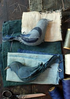 birds, hand stitched from japanese boro textiles  - in indigo and teal