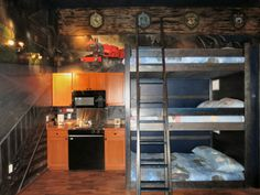 All aboard the Hogwarts Express complete with kitchenette and a triple bunk! One for Harry, Ron, and Hermione.
