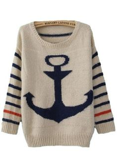 Blue Striped Long Sleeve Anchor Print Mohair Sweater - Sheinside.com- Svpply