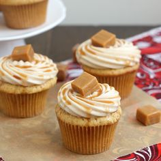 Spiced Apple Cupcakes with Cinnamon Cream Cheese Frosting Recipe Desserts with all-purpose flour, baking powder, ground cinnamon, ground ginger, salt, unsalted butter, sugar, large eggs, vanilla extract, cider, whole milk, unsalted butter, cream cheese, confectioners sugar, ground cinnamon, vanilla extract...dessert for fall or Thanksgiving