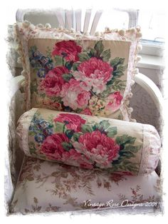 Charming Floral Print -if I can't find needlepoint pillow -make one with floral print material and pompom trim
