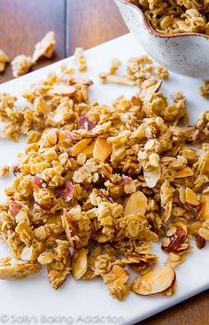 Ditch store-bought, healthy homemade granola is easy! sallysbakingaddiction.com