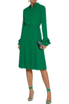 Shop on-sale Belted pleated crepe dress. Browse other discount designer Knee Length Dress & more luxury fashion pieces at THE OUTNET Crepe Dress, Tie Dress, Jacket Dress, Shirt Dress, Emerald Dresses, Dresses For Work, Dresses With Sleeves, Fashion Outlet, Designer Dresses