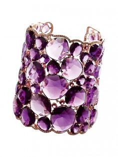 Cuff | Verdi Gioielli.  Amethyst, diamonds and gold.