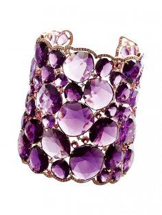 Cuff | Verdi Gioielli.  Amethyst, diamonds and gold.