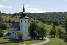 In he closeness of Hotel Kaskady you an find the geographical center of Europe- Kremnické Bane near Banská Bystrica and Hotel Kaskady #luxury #holiday #hotel #kaskady #church #Slovakia