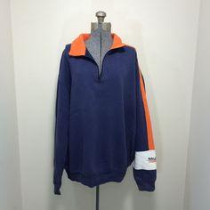 Mens Vintage 90s NAUTICA COMPETITION Navy Blue Pullover Sweatshirt  XL TG #Nautica #Jacket