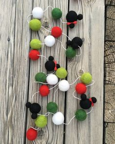 Christmas,Disney, Mickey Minnie Mouse, Birthday Felt Ball Garland, Pom Pom…