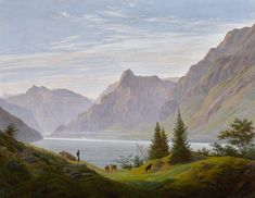"""Caspar David Friedrich (German, """"Landschaft mit gebirgsee, Morgen/Landscape with mountain lake, Morning"""" Oil on canvas, x 93 cm Private collection Caspar David Friedrich Paintings, Casper David, Spiritual Eyes, Tate Gallery, Cleveland Museum Of Art, European Paintings, Book Of Life, Famous Artists, Landscape Paintings"""