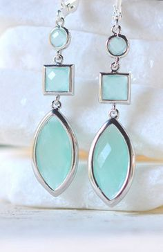 Long Aqua Teardrop Geometric Dangle Earrings