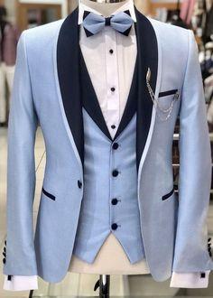 Pale blue tuxedo with a black shawl collar and shawl collared vest. #bespoke #groom #prom #wedding #weddingideas #weddinginspiration #mensfashion #summerwedding #groomsmen #giorgentiweddings #Menssuits