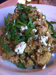 quinoa with sun dried tomatoes, chicken, spinach, and goat cheese recipe