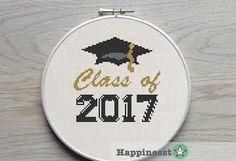 cross stitch pattern class of 2017, graduation gift, modern cross stitch, PDF pattern ** instant download**
