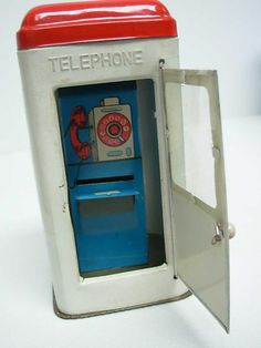 Vintage Kaspero Japan Tin Litho Telephone Booth Coin Bank with Box