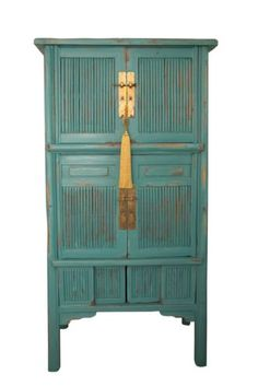 Antique Chinese Cabinet, Oriental,Teal, Distressed, Jade &silk Tassel WAS £1595