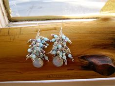 2 ways earrings with Czech glass beads and Opalite stone.♡♡ (Short chain version)