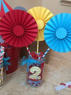 3 6 Circus/Carnival Rosettes Centerpieces by BeautifulPaperCrafts Circus 1st Birthdays, Carnival Birthday Parties, Circus Birthday, Circus Theme, Birthday Party Themes, First Birthdays, Carnival Centerpieces, Circus Party Decorations, Birthday Party Centerpieces