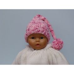 Bonnet lutin pour bébé de couleur rose, taille naissance, ce bonnet lutin  est tricoté 7d0d05169ba