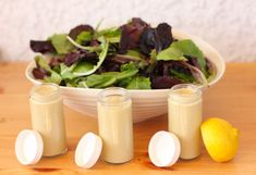 Creamy Goddess Salad Dressing: 3 cloves of garlic, 1/4 cup tahini, 1/8 cup tamari, 1/2 cup coconut milk (or almond/soy), 2 tbsp hemp hearts, 3-4 spring onions, 1 tsp ground black pepper, 1 tbsp nutritional yeast, 1/4 cup olive oil, Juice of 1 lemon,