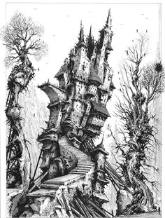 The Tower, 2008 (B/w pen and ink on illustration board). I thought it might be interesting to create a set of Tarot cards. I drew eight or nine of them, then abandoned the project. It happens. By permission: Ian Miller
