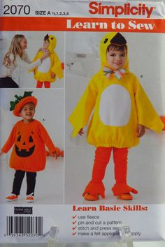 Simplicity 2070 Toddlers' Costumes