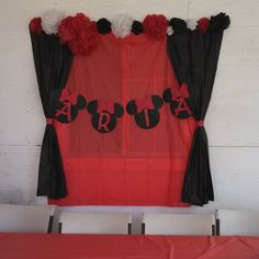 Baby Aria  Minnie mouse baby shower we used doller store table clothes