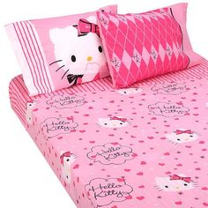 Pink bed sheets http://www.welovekitty.com/hello-kitty-bed-sheets/