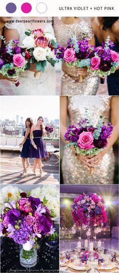 pantone wedding color 2018- Ultra violet and hot pink wedding color ideas / http://www.deerpearlflowers.com/ultra-violet-wedding-color-palette-idea/
