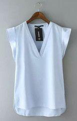 Wavy Sleeves Blouse - S / Sky blue